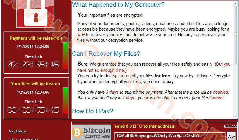 باج افزار واناکرای - WannaCry Ransomware